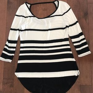 Tops - Black and white striped tunic.